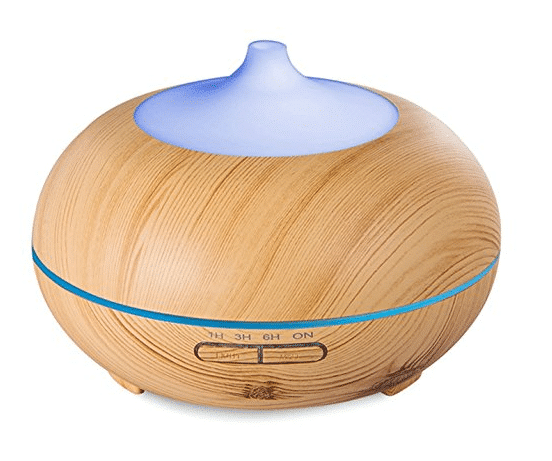 Anypro アロマディフューザー 超音波式 卓上加湿器 ムードランプ 空焚き防止 切タイマー 各場所用 木目調