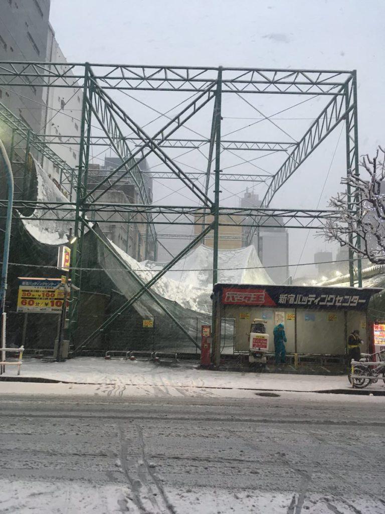 雪で潰れたバッセン