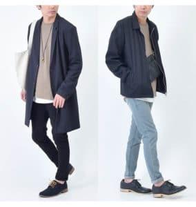 革靴、ネイビーコート、トートバッグ、セーター