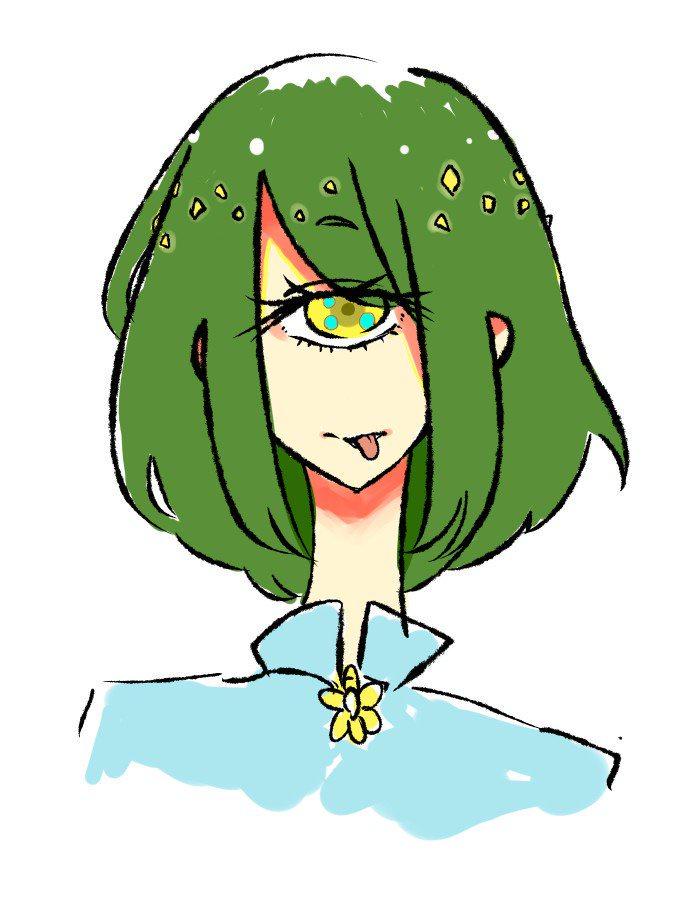 緑色の髪の複眼女性