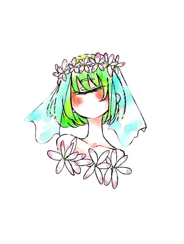 花と単眼女性