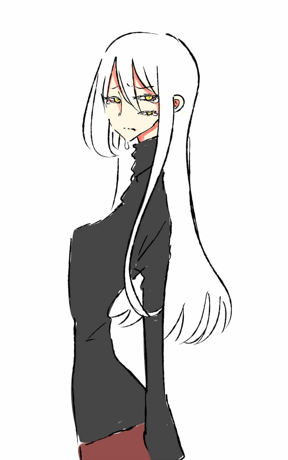 白髪のスリムな複眼女性