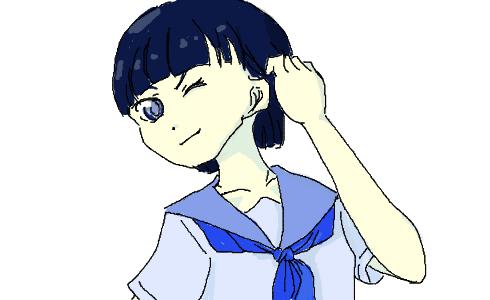 青髪制服 ショートカット