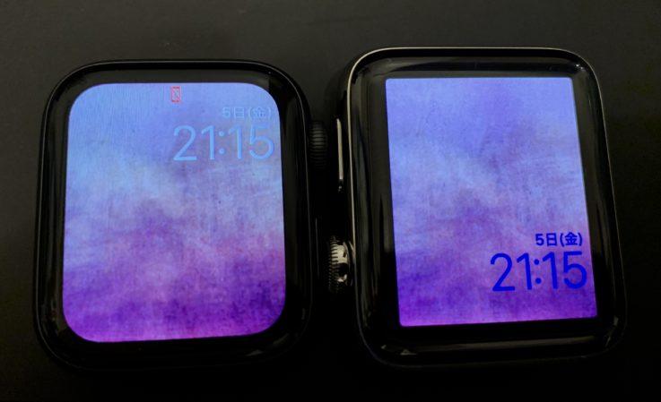 Apple Watch series4とseries2の画面サイズの比較