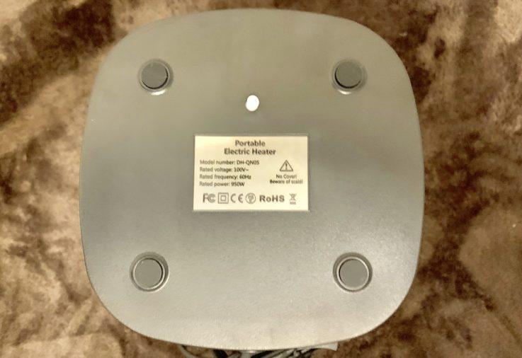 MIUOセラミック電気ファンヒーターの下部