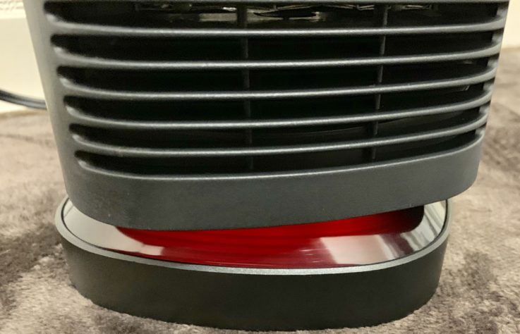 MIUOセラミック電気ファンヒーターの950w時の赤いランプ
