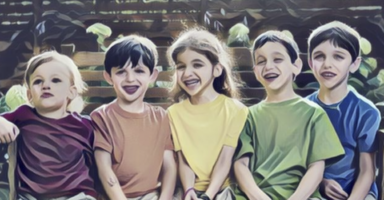別々の色のTシャツを着た5人の子供