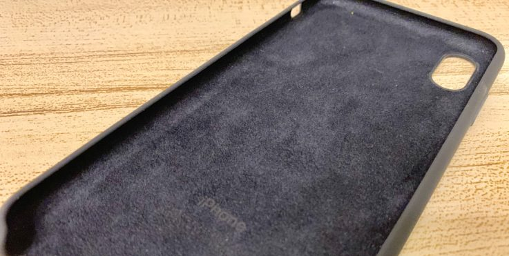 Apple純正シリコンケースiphoneXS MAX用 ブラックの裏地