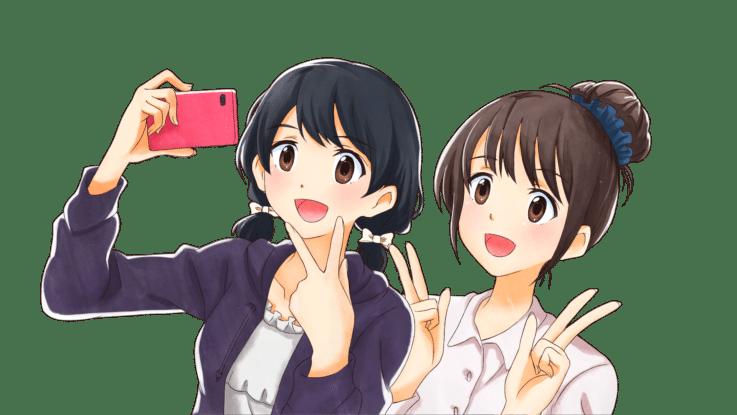 2人で自撮りする若い女の子たち