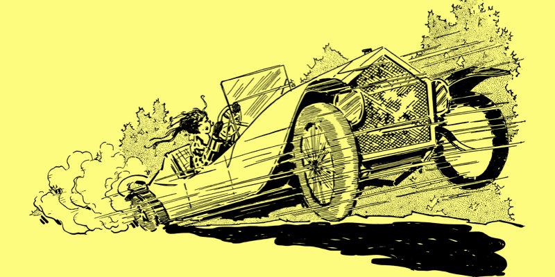 爆走する車