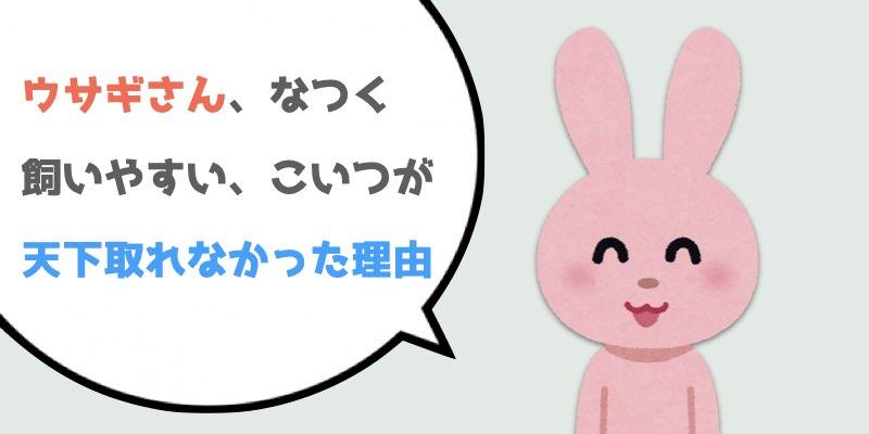 ウサギさん、なつく、かわいい、飼いやすい←こいつが天下取れなかった理由